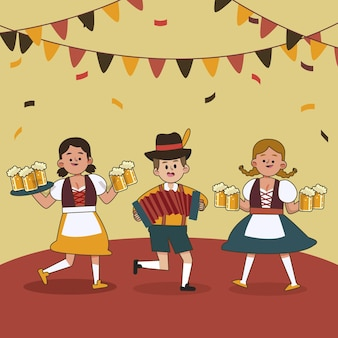 Flat oktoberfest illustration