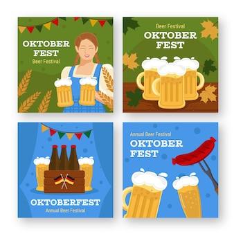 Flat oktoberfest instagram posts collection