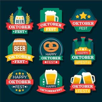 Collezione di etichette piatte dell'oktoberfest
