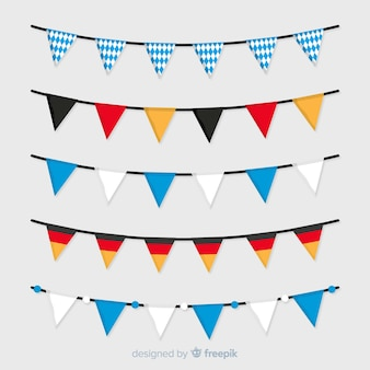 Flat oktoberfest national colours flag garland collection