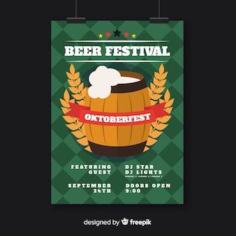 Flat oktoberfest poster template