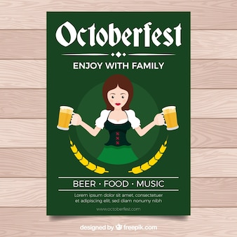 Flat oktoberfest poster with woman carryin beer