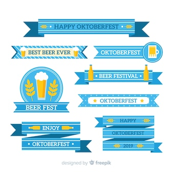 Flat oktoberfest ribbon collection