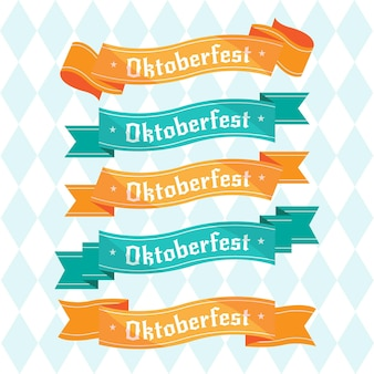 Flat oktoberfest ribbons collection