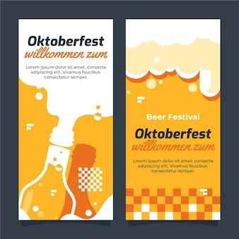 Flat oktoberfest vertical banners set