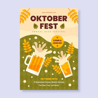 Flat oktoberfest vertical flyer template