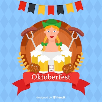 Flat oktoberfest with woman holding beers