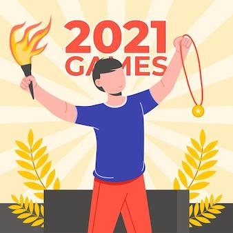 Flat olympic games 2021 illustration