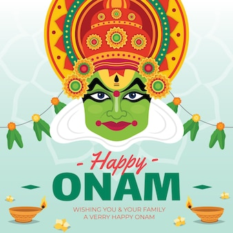 Flat onam background concept