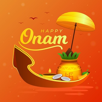 Flat onam background with greeting