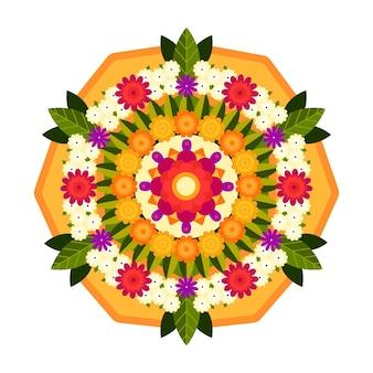Concetto di decorazione floreale piatto onam