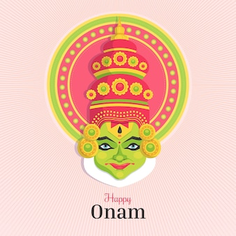 Flat onam greeting background