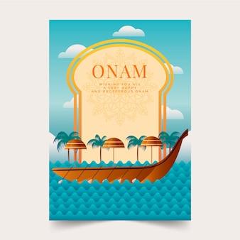 Плоская концепция постеров onam Premium векторы