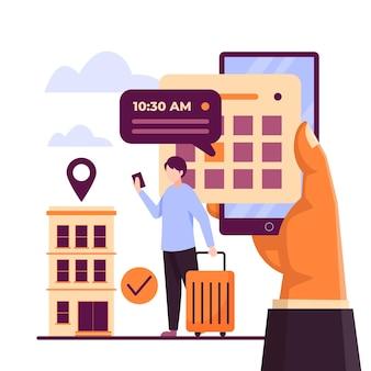 観光客とホテルを見つけるためのフラットオンライン予約と予約アプリ