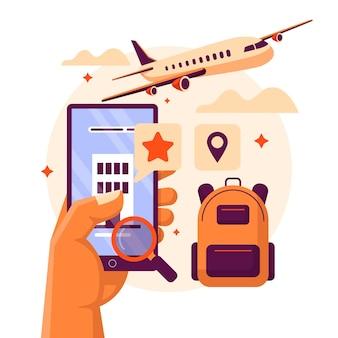 観光客とホテルを見つけるためのフラットオンライン予約と予約アプリ Premiumベクター