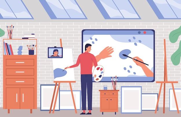 Sfondo piatto di formazione online con artista che dipinge nel suo studio