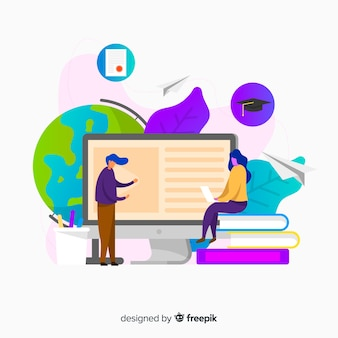 Flat online education concept background