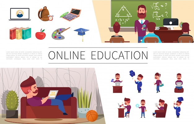 Flat online education elements set with man studying on laptop at home seminar bag calculator books apple art palette graduation cap