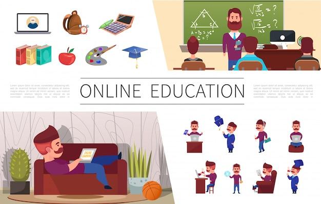 Плоские элементы онлайн-образования с человеком, обучающимся на ноутбуке дома, сумка для семинара, калькулятор, книги, яблочная палитра, выпускной колпачок