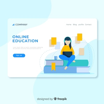 Flat online education girl reading landing page