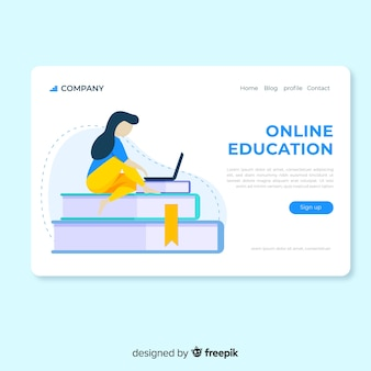 Flat online education landing page girl using laptop