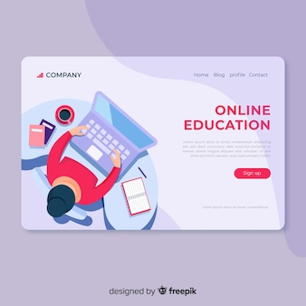 Flat online education landing page