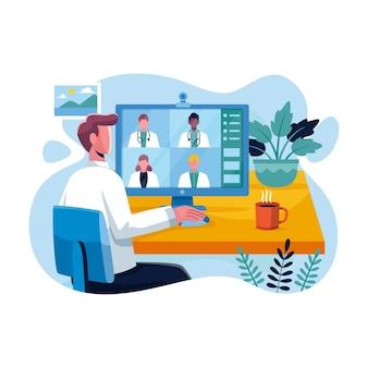 Плоская онлайн-иллюстрация медицинской конференции