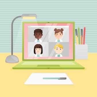 평면 온라인 의료 회의 그림
