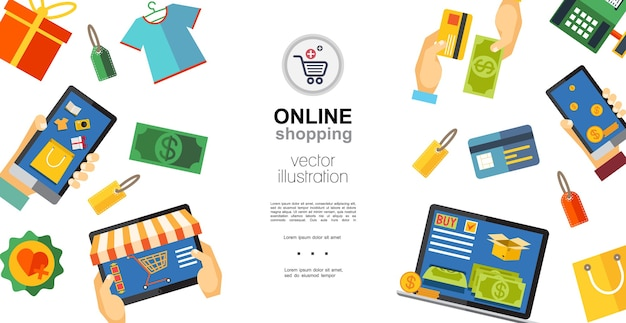 Flat online shopping concept