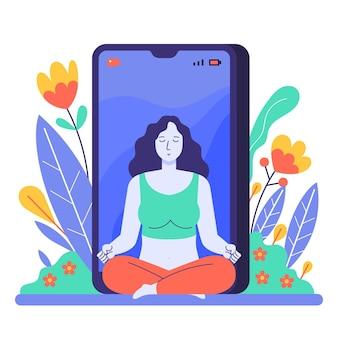 Flat online yoga class concept