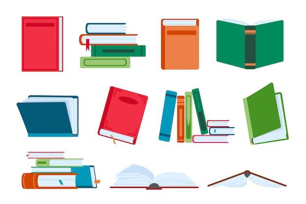 평평하게 열고 닫는 책, 도서관 더미 및 스택. 책갈피가 있는 소설책. 읽기 및 교육용 교과서. 문학 벡터 집합입니다. 학교 또는 대학을 위한 학술 교육 도서