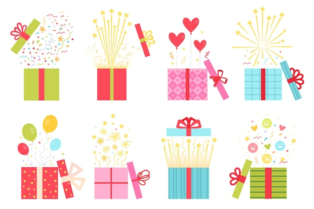 Flat open prize concept, gift box with confetti. surprise present boxes with balloon, firework and heart. game win or reward icon vector set. wedding, birthday or valentines holiday gift