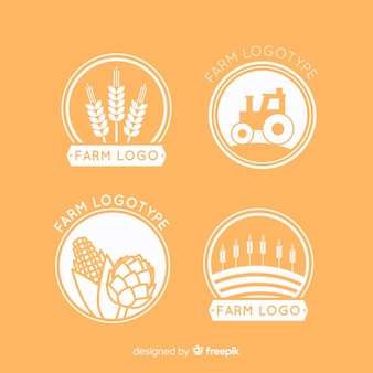 Flat orange farm logo collection