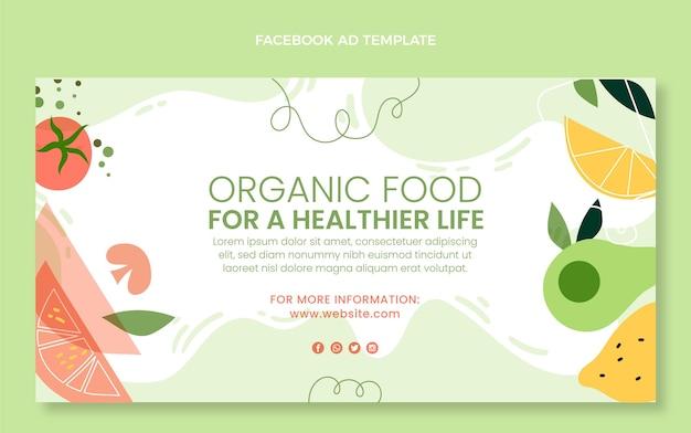 Flat organic food facebook template
