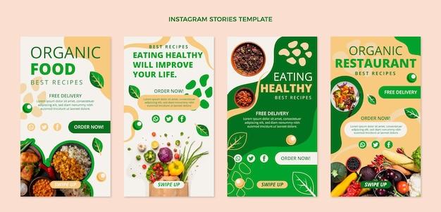 플랫 유기농 식품 인스타그램 스토리 컬렉션