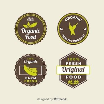 플랫 유기농 식품 라벨 컬렉션