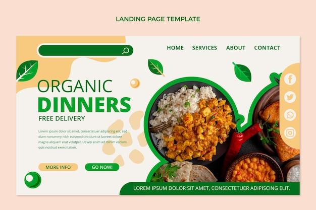 평면 유기농 식품 방문 페이지 템플릿
