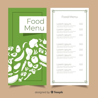 Flat organic food menu template