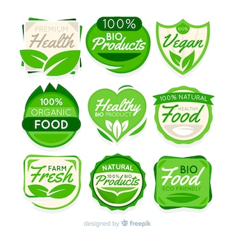 Flat organic fruit label set