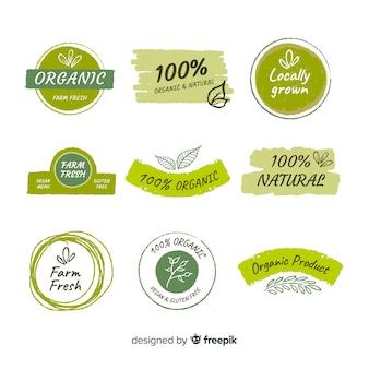 Набор плоских органических фруктовых этикеток