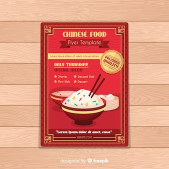 Flat oriental food brochure template