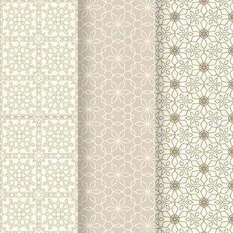Flat ornamental arabic pattern collection