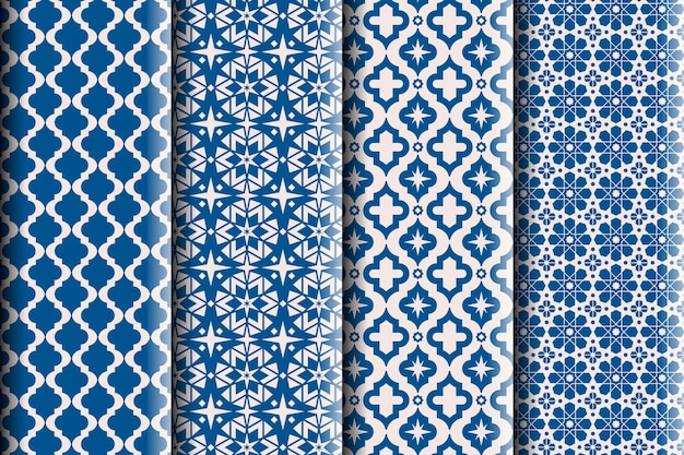Flat ornamental arabic pattern collection