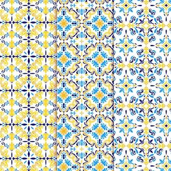 Flat ornamental arabic pattern set