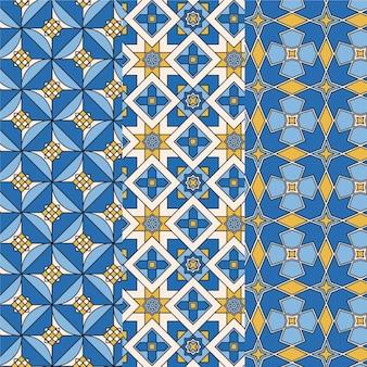 평면 장식 아랍어 패턴 세트 무료 벡터
