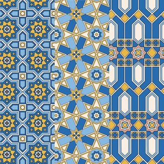 Flat ornamental arabic pattern set
