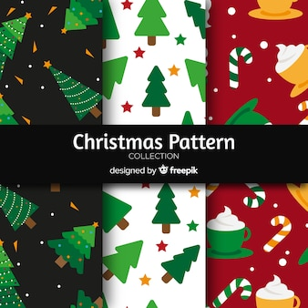 Flat ornaments christmas pattern collection