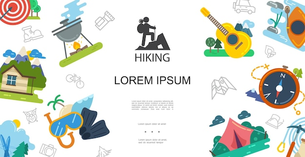 Flat outdoor activities template with illustration