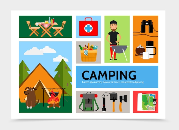 Flat outdoor recreation infographic template