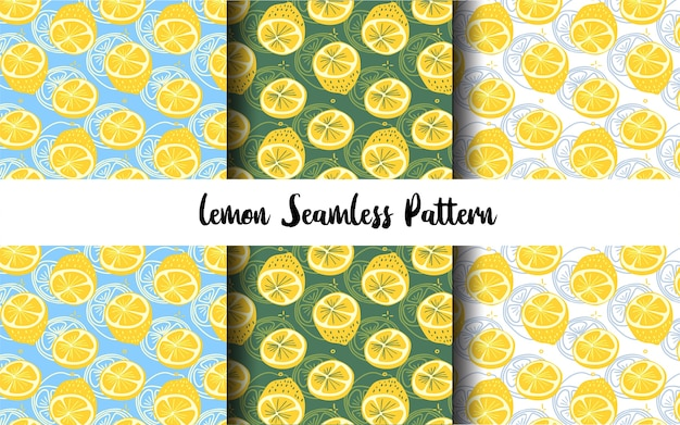Flat and outline hand drawn lemon slice seamless pattern collection